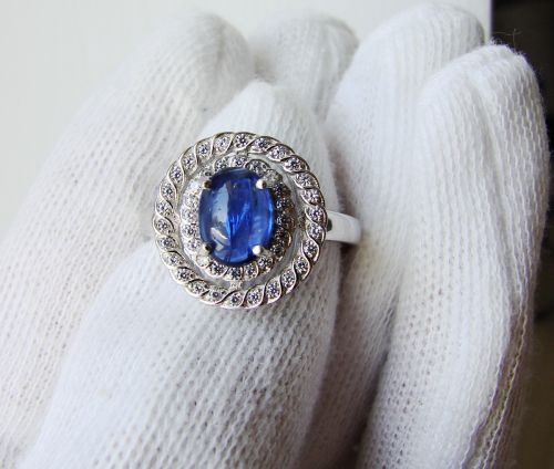 925 Designer Ring Measure 17 Silber mit Kianite Cianit Ds83